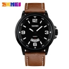 SKMEI 9115 Men's 50 Meters Waterproof Calendar Quartz Watch - Coffee