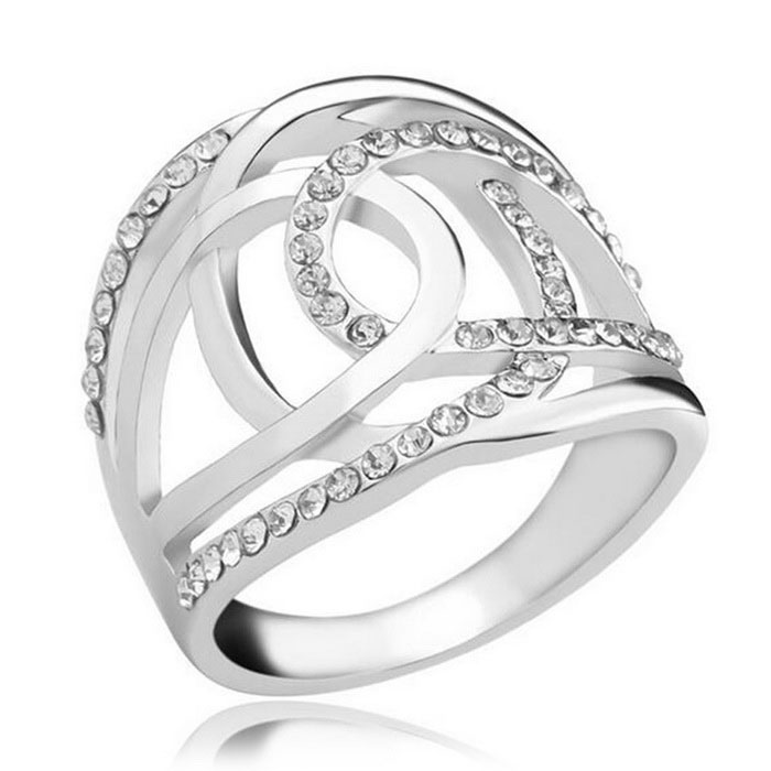 Simple Mode Double C Modeling 18K Silvering Couple Ring - Argent
