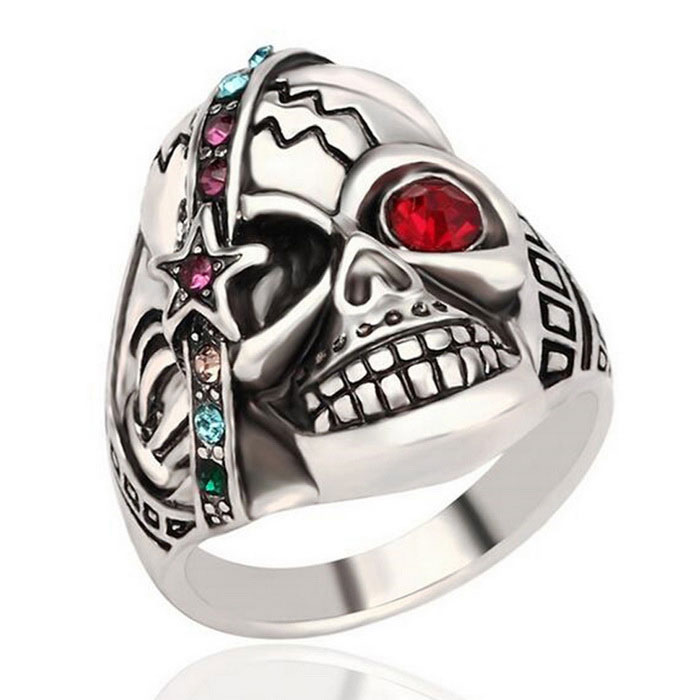 Punk Style Skull Rhinestones Decorated Ring - Silver (US Size 8)