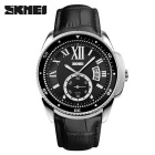 SKMEI 1135 Men's Waterproof Calendar Quartz Watch - Balck + Silver