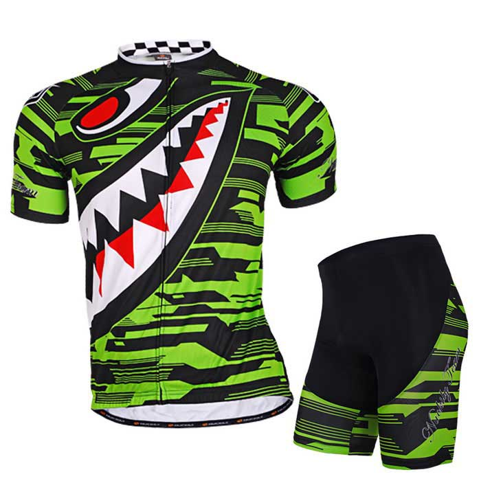 NUCKILY High Quality Men's Cycling Short Jersey + Short Pants - Green