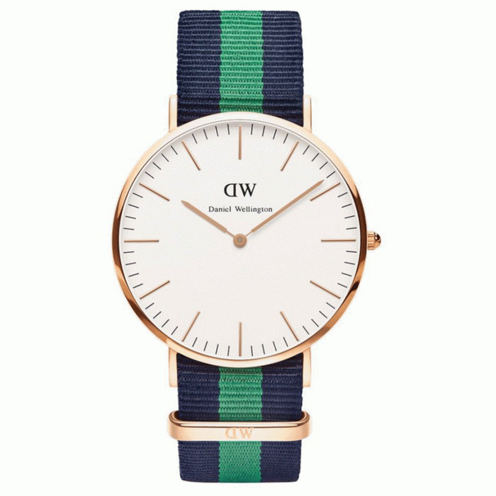Daniel Wellington Miesten 0105DW Rose Gold-Tone Watch Nylon Band