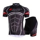 Outdoor Sports Mountain Bike Cycle Racing Muscle Pattern Polyester Wearing Suit - Black (L)