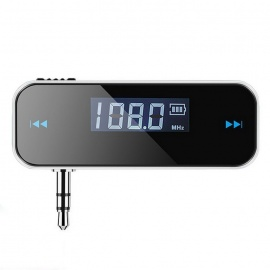 3.5mm Car Wireless FM Transmitter Audio Adapter Car Kit - Black