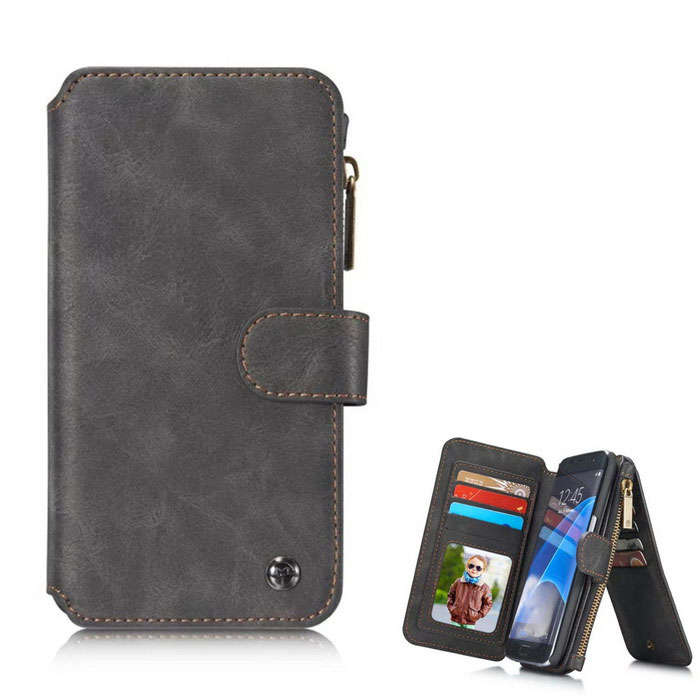 Genuine Leather Wallet Case For Samsung Galaxy S7 Edge - Black