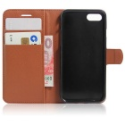 Flip Open PU Leather Wallet Case w/ Card Slots for iPhone 7 - Brown