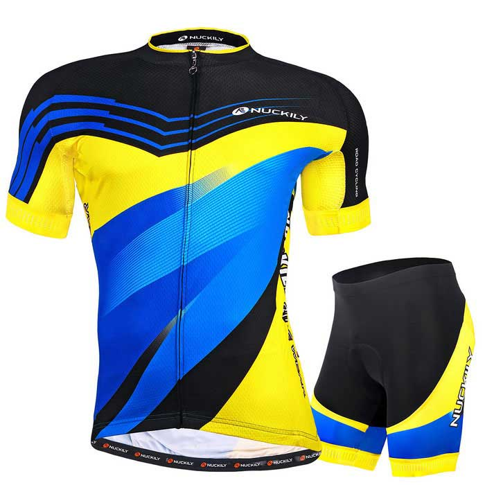 NUCKILY High Quality Mens Cycling Short-Sleeve Jersey + Short PantsForm  ColorYellowSizeXLModelMA015 MB015Quantity1 DX.PCM.Model.AttributeModel.UnitMaterial100%polyesterGenderMensSeasonsSpring and SummerShoulder Width48 DX.PCM.Model.AttributeModel.UnitChest Girth104 DX.PCM.Model.AttributeModel.UnitSleeve Length35 DX.PCM.Model.AttributeModel.UnitTotal Length72 DX.PCM.Model.AttributeModel.UnitWaist74 DX.PCM.Model.AttributeModel.UnitTotal Length44 DX.PCM.Model.AttributeModel.UnitSuitable for Height173~178 DX.PCM.Model.AttributeModel.UnitBest UseCycling,Mountain Cycling,Recreational Cycling,Road Cycling,TriathlonSuitable forAdultsTypeShort Pants,Short JerseysPacking List1 * Set of bicycle clothings<br>