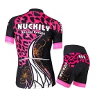 NUCKILY Women's Short Sleeve Cycling Jersey Suit - Pink + Black (XL)
