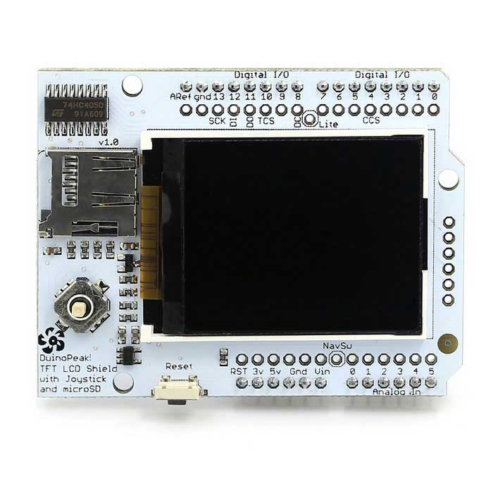 "Duinopeak 1.8"" Color TFT Shield w/ MicroSD and Joystick For Arduino"