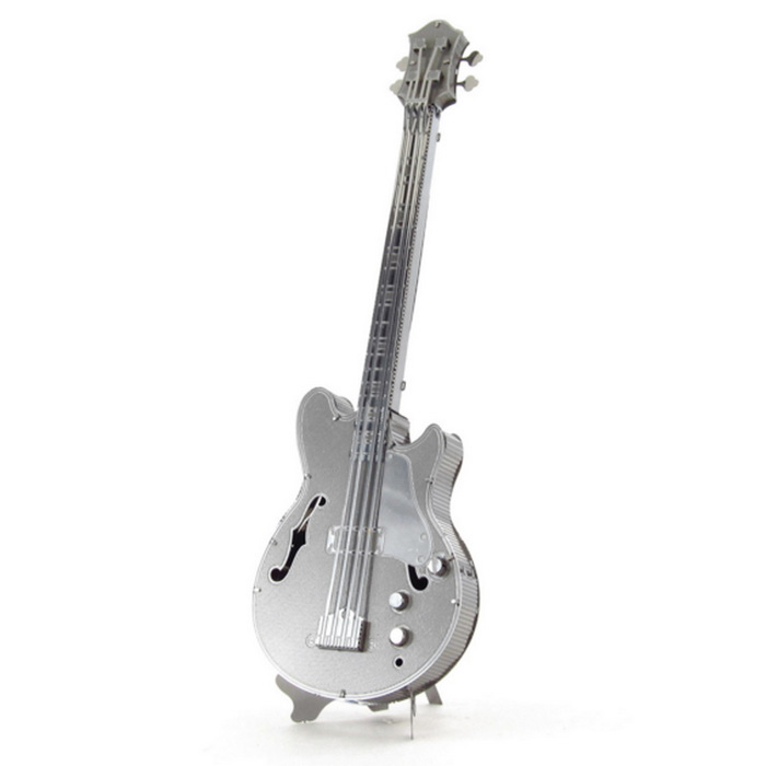 3D Metal Puzzle Bass Guitar Model Toy - Silver