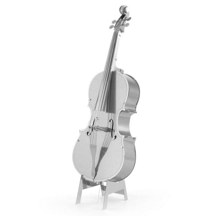 3D Metal Puzzle Double Bass Model Toy - Silver