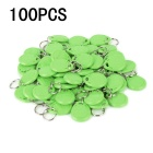 Entrance Guard Inductive ID Key Cards w/ Keyring - Green  (100 PCS)
