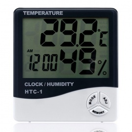 "HTC-1 4"" LCD Indoor Household Thermometer Hygrometer - White + Black"