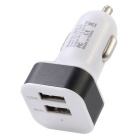 JL-280-1 Double USB Aluminum Alloy + ABS Car Charger - Black + White