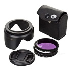 58mm UV Lens + CPL Polarizer + FLD Fluorescent Filter w/ Lens Cap, Hood Set for Nikon / Canon