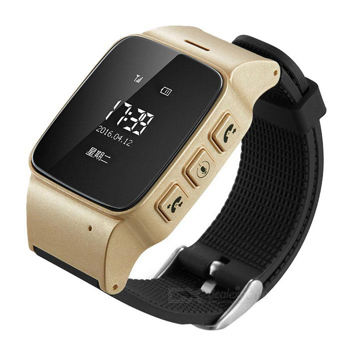 "0.96"" OLED Anti-Lost GPS Smart Phone Watch - Black + Golden"