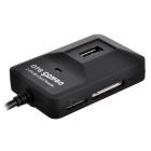 4-in-1 USB 2.0 3-Port Hub + OTG + Card Reader Combo - Black