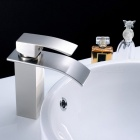Stylish Single Handle Nickel Brushed Waterfall Bathroom Sink Faucet