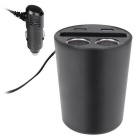 Cup Car Charger 2 USB Ports, 2 Sockets Cigarette Lighter - Black
