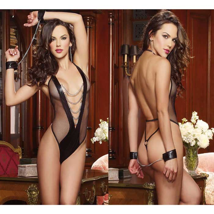 With Hand Ring Sexy Lingerie Temptations Transparent Piece - Black