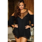 Sexy Strapless Lace Embellishment Sexy Lingerie Dress - Black (XXXL)