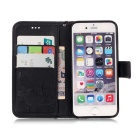 BLCR Butterfly Pattern PU + TPU Wallet Case for IPHONE SE/5S/ 5- Black
