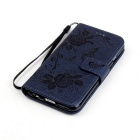 BLCR Butterfly Pattern Wallet Case for IPHONE 6/6S - Deep Blue