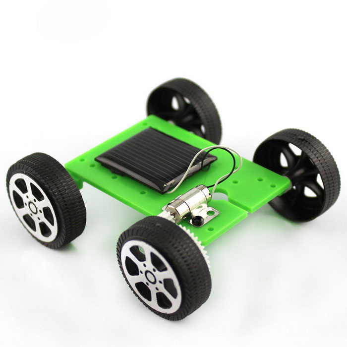 DIY Educational Small Production Model Solar Car Toy - Green + Black