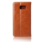 Flip Open Cow Split Leather Case for Samsung Galaxy Note 7 - Brown