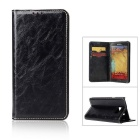 Flip Open Cow Split Leather Case for Samsung Galaxy Note 7 - Black