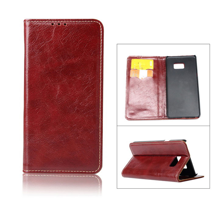 Flip Open Cow Split Leather Case for Samsung Galaxy Note 7 - Red