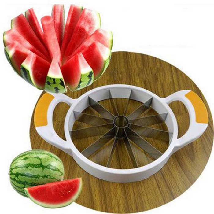 Stainless Steel Watermelon Cantaloupe Fruit Cutting Tool - Silver