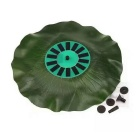 Outdoor Solar Lotus Leaf Floating Fountain - Green + Black