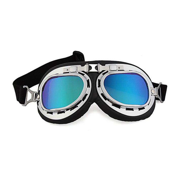 QooK Retro Motorcycle Bike Goggles Helmet Glasses - Black