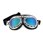 Protective Vintage Style Motorcycle Bike Goggles Helmet Glasses - Black + Silver +Multicolor