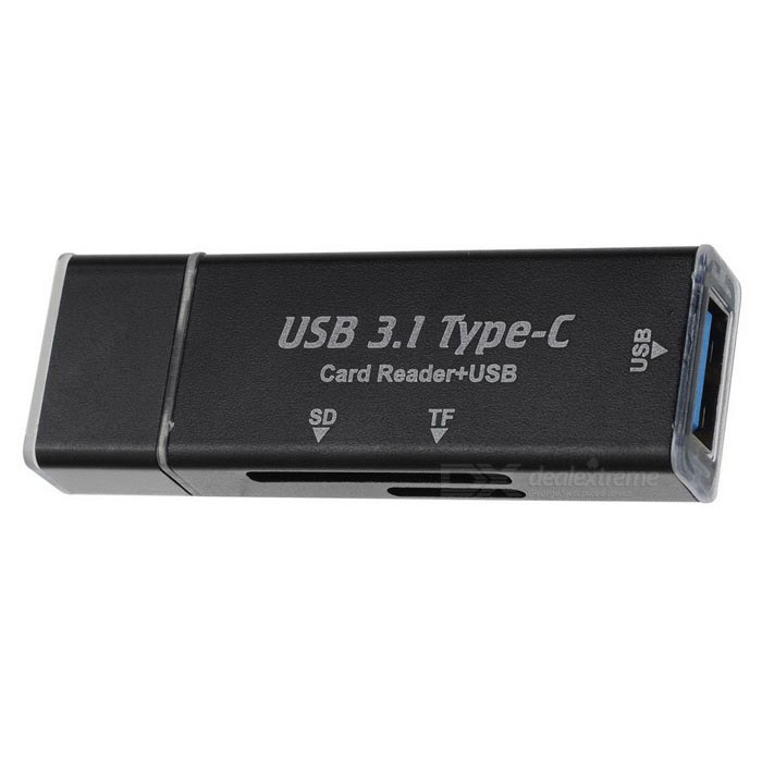 Mini USB 3.0 Type-C OTG SD / TF Card Reader - BlackCard Readers<br>Form  ColorBlackQuantity1 DX.PCM.Model.AttributeModel.UnitShade Of ColorBlackMaterialMetalInterfaceUSB 3.0Supports Card TypeSD,MicroSD (TF)Max. Memory Supported64GBSlot Number2Support card quantity simultaneously1Powered ByUSBIndicator LightYesSupports SystemWin xp,Win 2000,Win 2008,Win vista,Win7 32,Win7 64,Win8 32,Win8 64,MAC OS X,IOS,Linux,Android 4.xPacking List1 * Card reader<br>