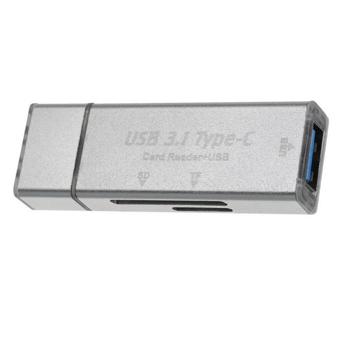 Mini USB 3.0 Type-C OTG SD / TF Card Reader - Silver
