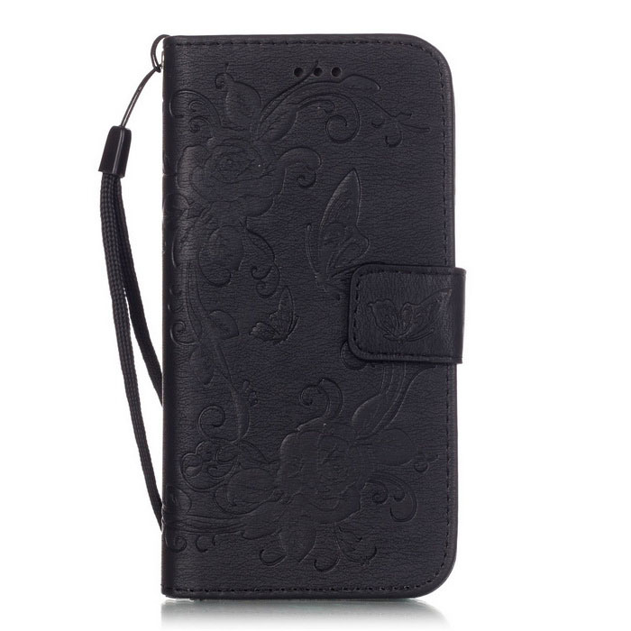 "BLCR Butterfly Pattern Wallet Case for 5.5"" IPHONE 6 Plus - Black"