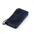 BLCR Butterfly Pattern Wallet Case para IPHONE SE / 5S / 5 - Deep Blue