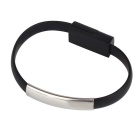 Universal Micro USB 2.0 Bracelet Flat Data Charging Cable - Black