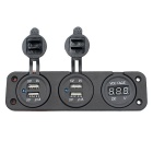 12 ~ 24V Universal Modificado Carregador USB Car dupla w / voltímetro - Black