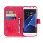 BLCR PU Leather + TPU Case for Samsung Galaxy S7 Edge - Deep Pink