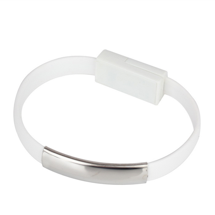 Universal Micro USB 2.0 Bracelet Flat Data Charging Cable - White