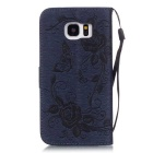 BLCR PU Leather + TPU Case for Samsung Galaxy S7 Edge - Deep Blue