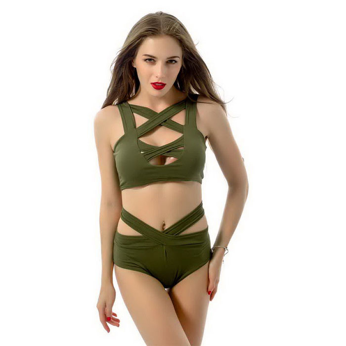 Sexy Criss Cross Bikin Women Swimwear Bandage Swimsuit - Army Green