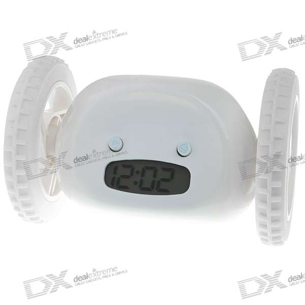 Novelty Run-Around Wake-Up-n-Catch-Me Digital Alarm Clock on Wheels - White (4*AAA)