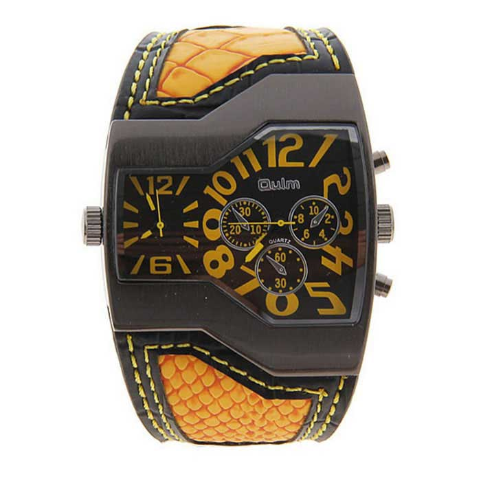 Oulm HP1220 Casual Men's Quartz Analog Wrist Watch - Black + Yellow