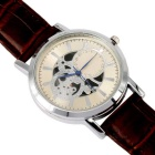 Alloy Material Hollow Out Surface Men's Quartz Watch - Brown + Silver