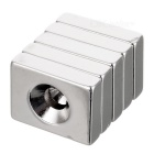 20 * 15 * 5mm Rectangle Magnets w/ Sink Hole - Silver (5PCS)