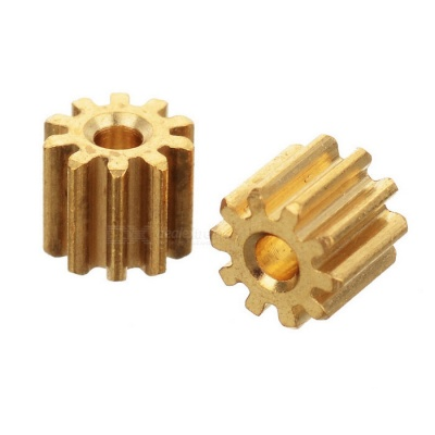 CX-35-05 0.4*10T*L4.0*1.47 Copper Gears for Quadcopter - Yellow (2PCS)